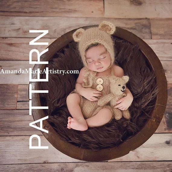 Newborn Knitting PATTERN outfit - Newborn bonnet pattern - baby romper pattern - toy bear stuffie pattern - Bear Prop Pattern.