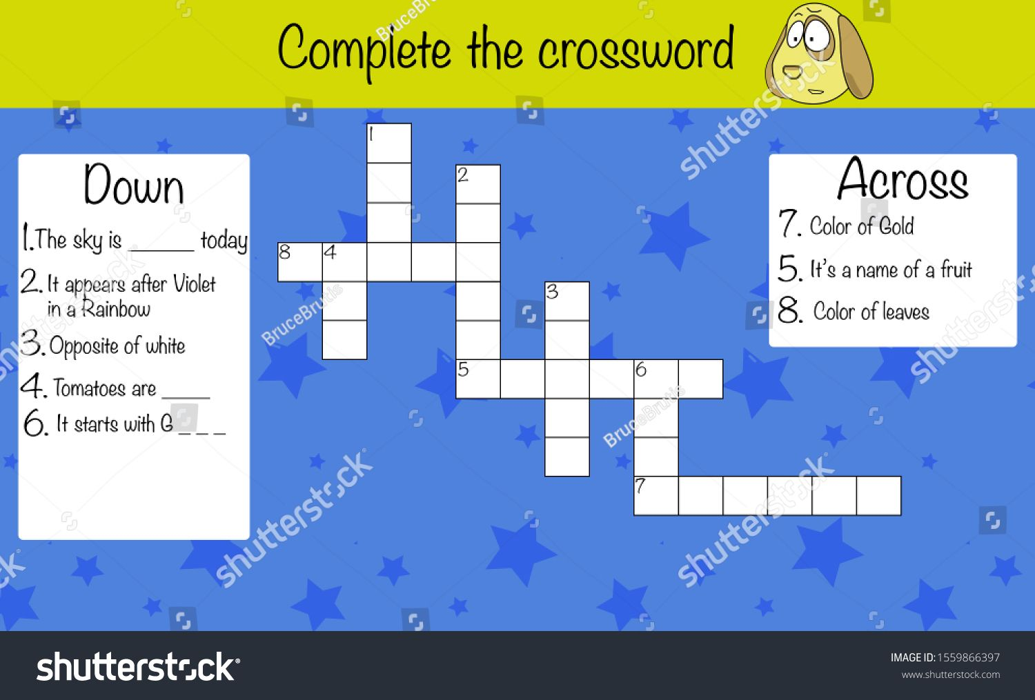 Puzzle Game For Children Complete The Crossword