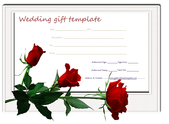 Red Rose Wedding Gift Certificate Template Beautiful Printable