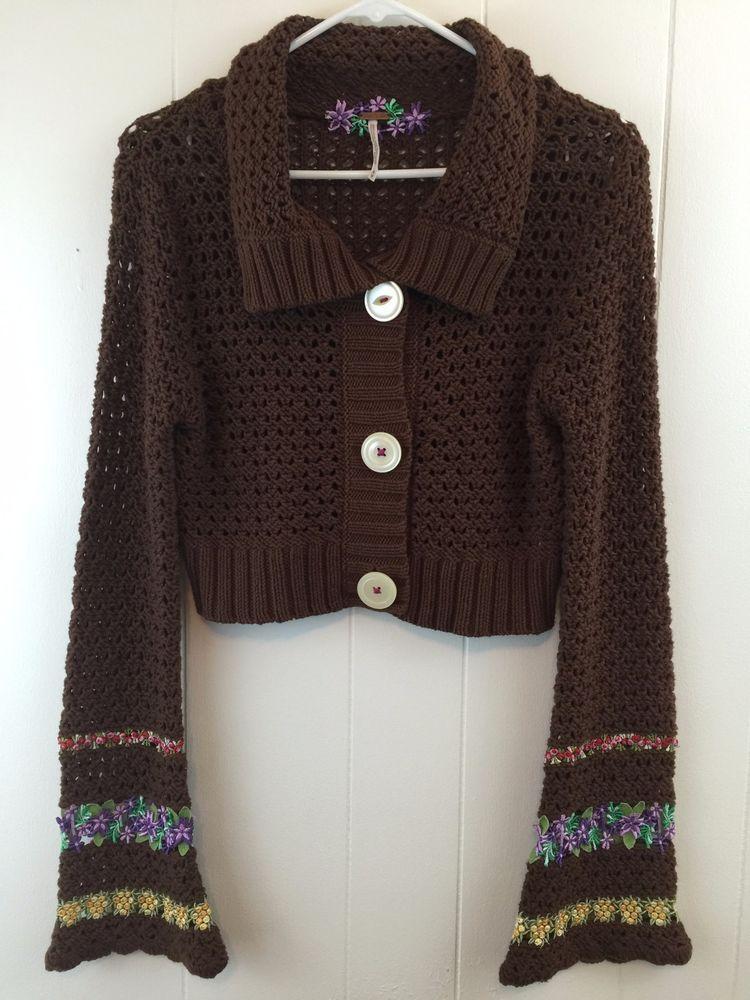 Free People Medium #Sweater Brown Floral Trim Long Sleeve Knit ...