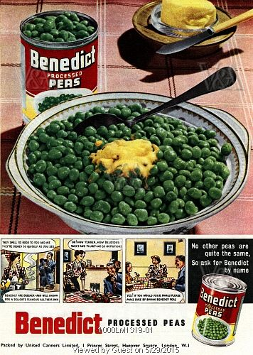 Advertisement for Benedict processed peas, from The Festival of Britain guide, published by HMSO. London, UK, 1951