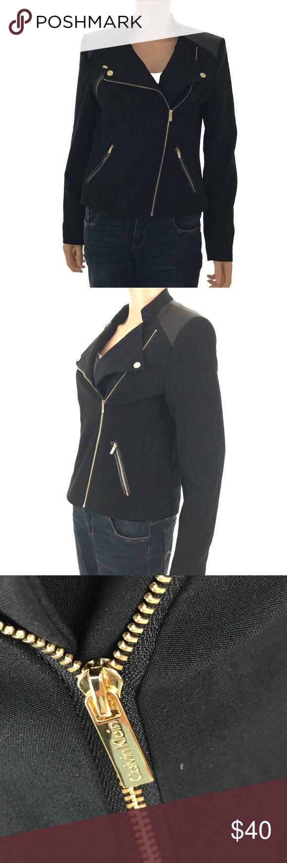 Calvin Klein Women's Black Moto Asymmetric Jacket Calvin