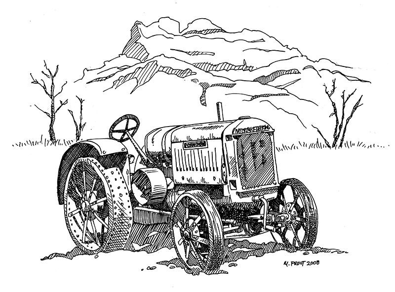 antique tractors ink illustration pen and ink