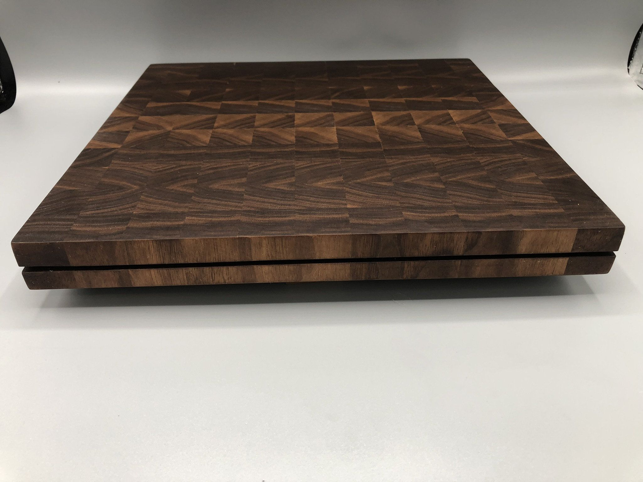 Unique personalized end grain cutting board butchers block made from wood