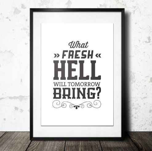Typography Print Life Quote Black White Wall Decor by paperchat, $40.00