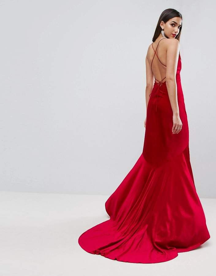 ASOS Red Carpet Velvet Deep Plunge Strappy Maxi Dress, Red Evening ...