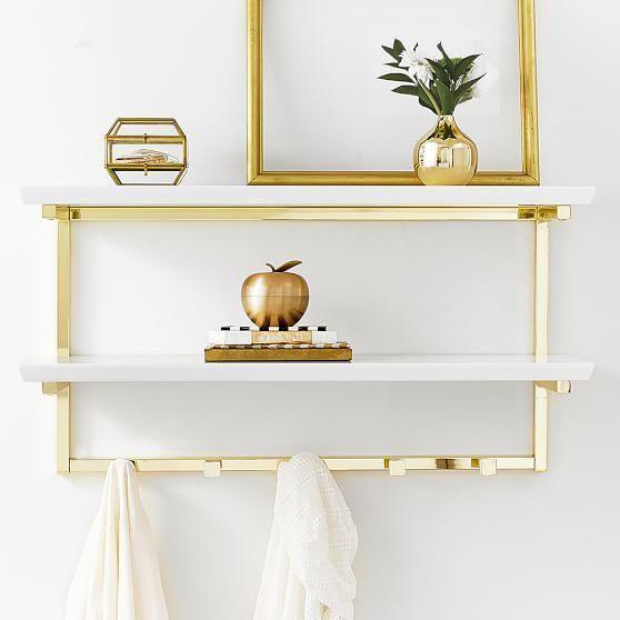 White And Gold Wall Shelf Wall Shelves White Wall Shelves Wall Shelf Decor