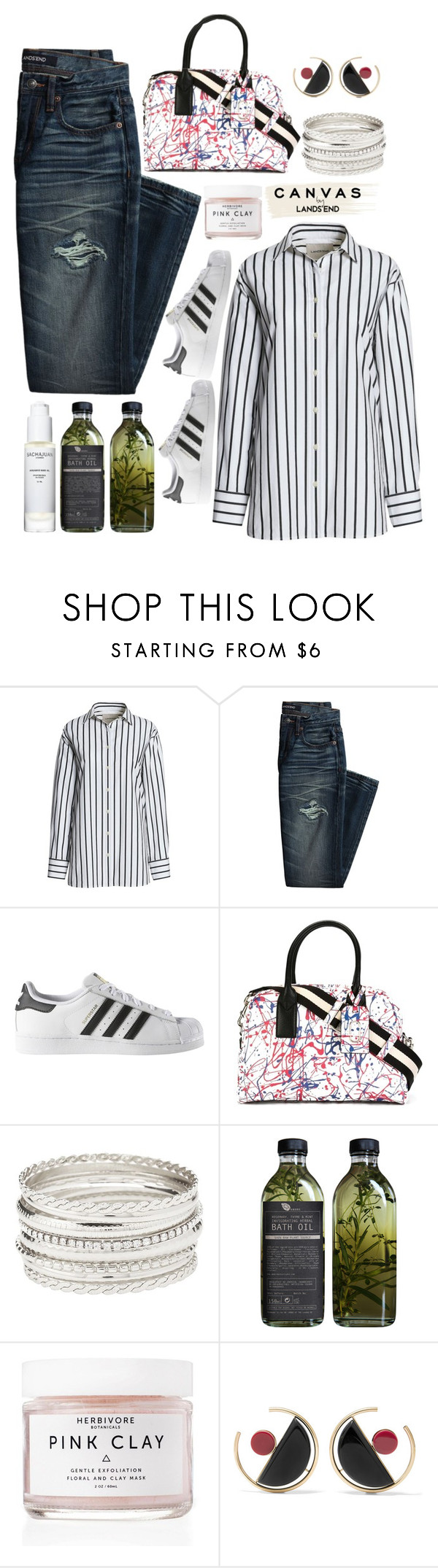 """""""Paint Your Look With Canvas by Lands' End: Contest Entry"""" by urbanstyle93 ❤ liked on Polyvore featuring Canvas by Lands' End, adidas, Marc Jacobs, Charlotte Russe, AMBRE, Herbivore, Sachajuan, Lands' End, Marni and canvas"""