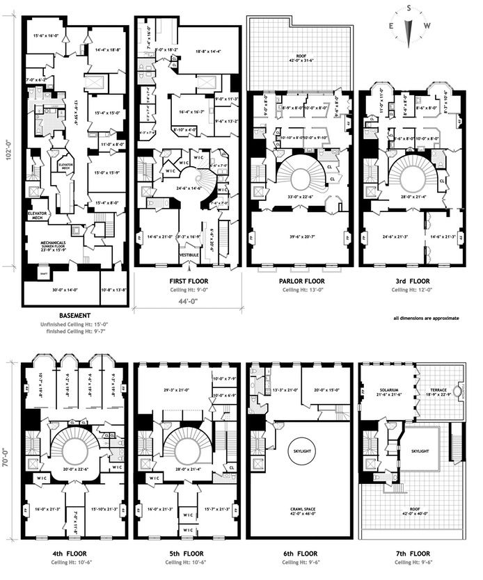Brown Harris Stevens Luxury Residential Real Estate 50 East 69th Street Upper East S Penthouse Apartment Floor Plan Apartment Floor Plans Townhouse Designs