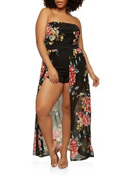 f3eeb8a851 Plus Size Floral Romper with Maxi Skirt Overlay - 1930069393588 ...