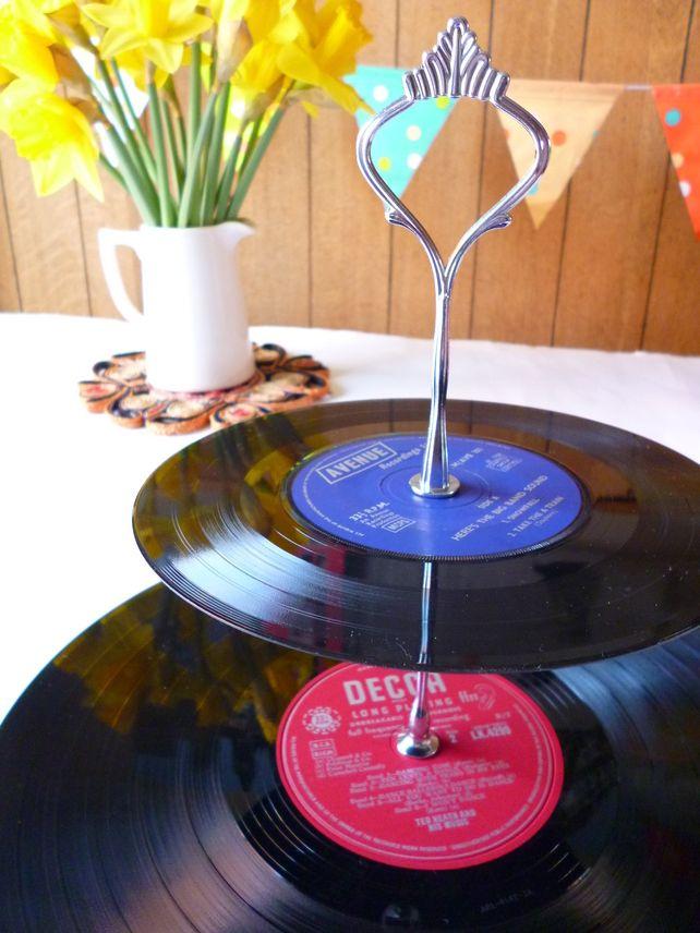 Record Cake Stand 2 tier Vintage Vinyl Record Garden Party ...