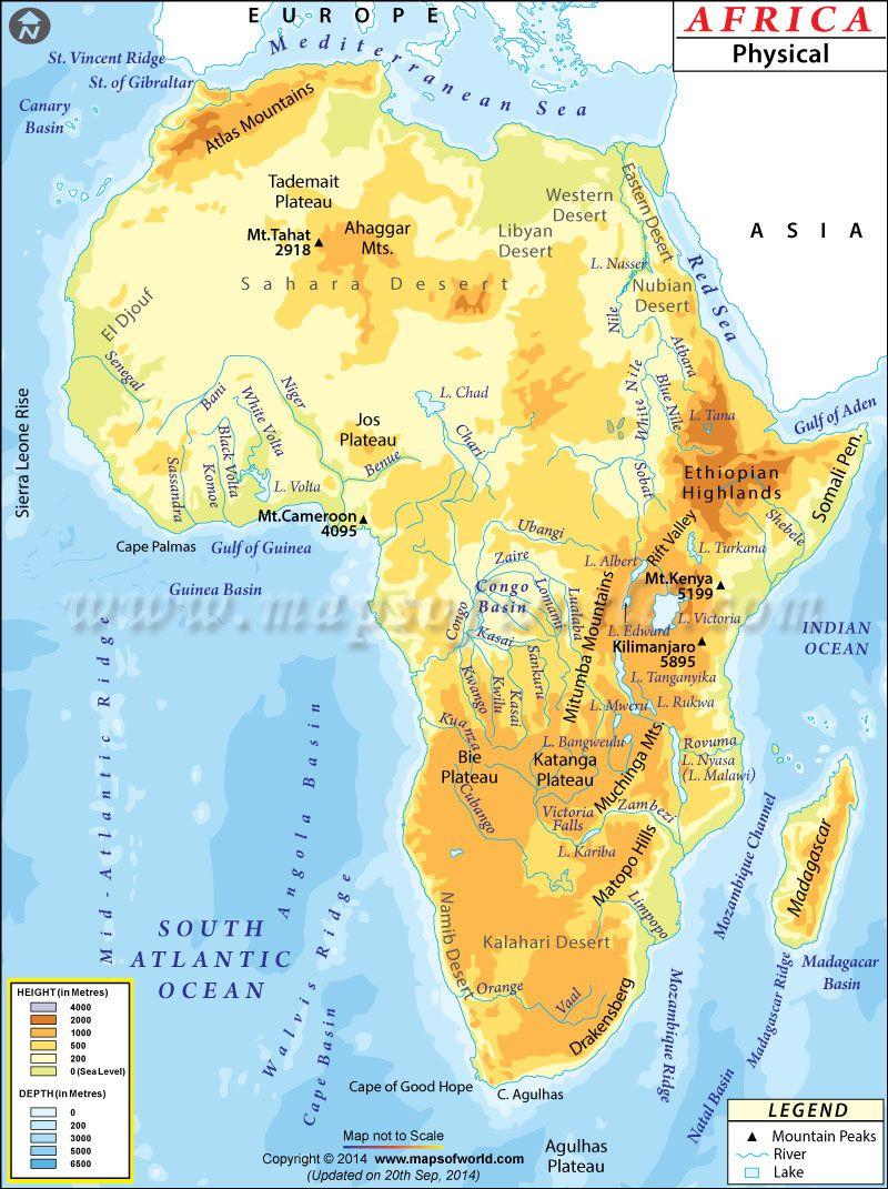 This is a physical map of Africa that shows all key geographical ...