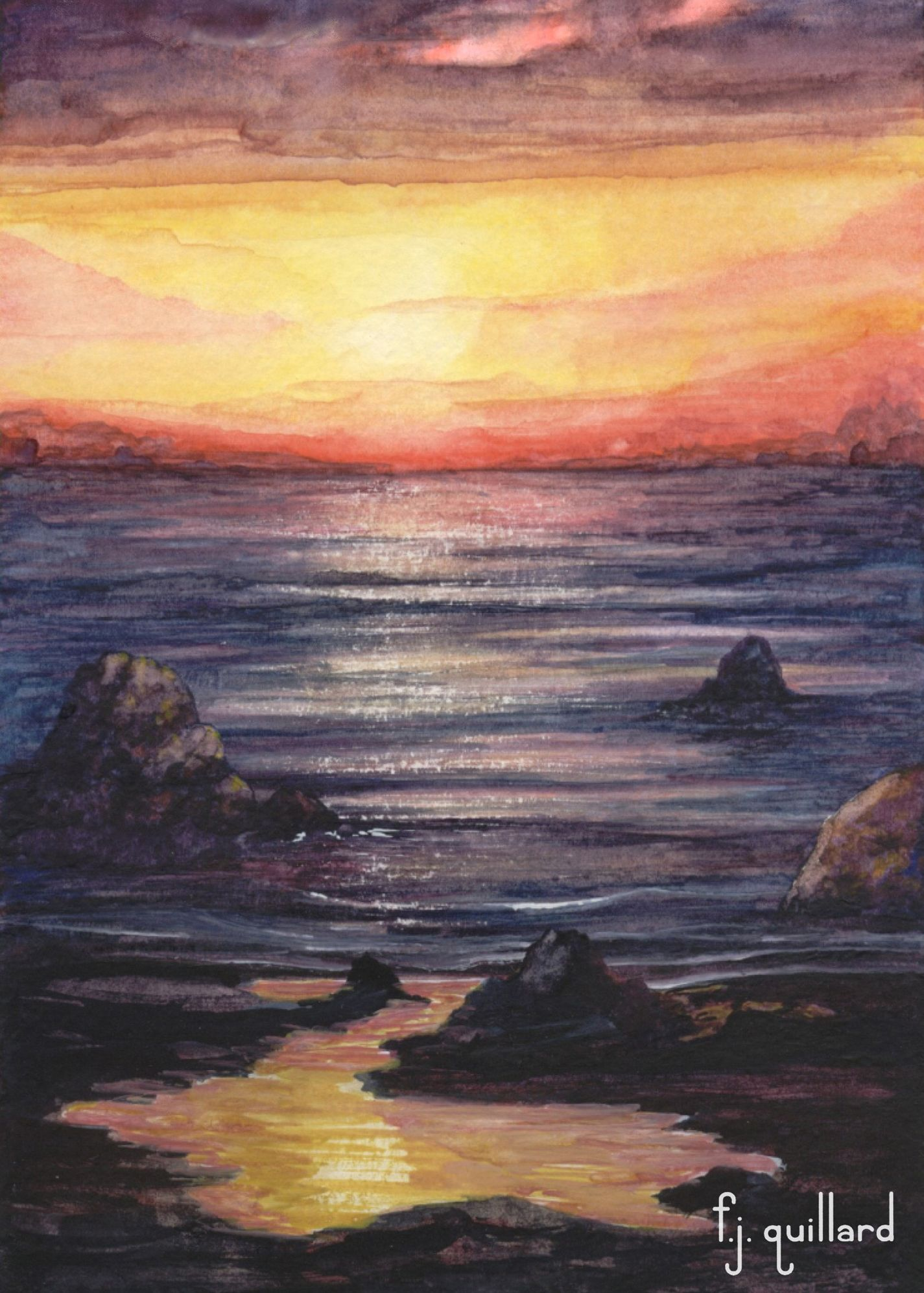 Sunset Beach Watercolor Beach Watercolor Art Fine Art