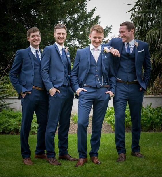 Italian Style Navy Blue Groom Tuxedos Slim Fit Tailor Made Mens Wedding Party Suits Groomsman Bridegroom Suit Jacket Pants Vest