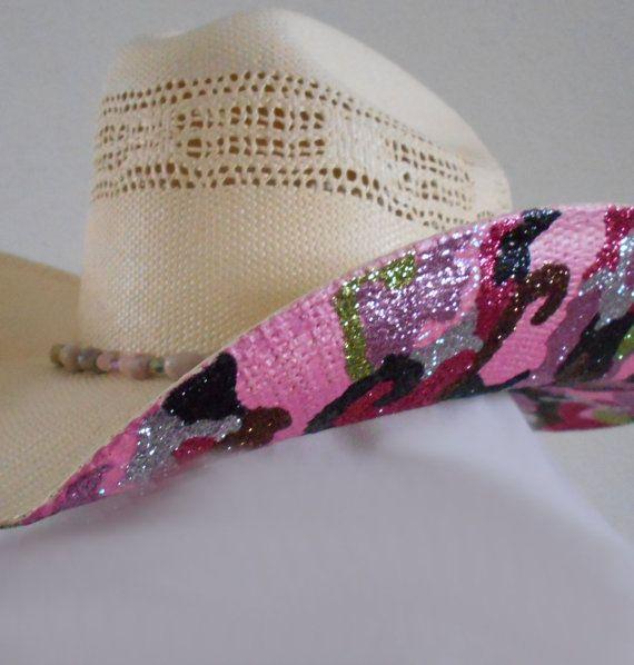 817c4b73936 Pink Camo Glitter Hand Painted Straw Cowboy Hat by SassyCactus ...