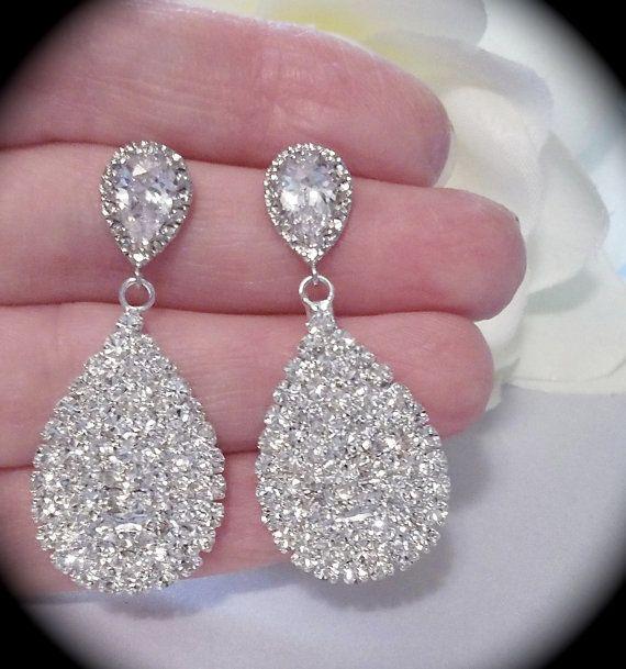 Crystal teardrop earrings, Brides Large crystal teardrop ...