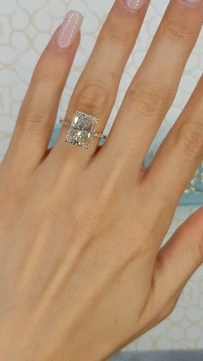 Huge Rose Gold Radiant Cut Diamond Ring