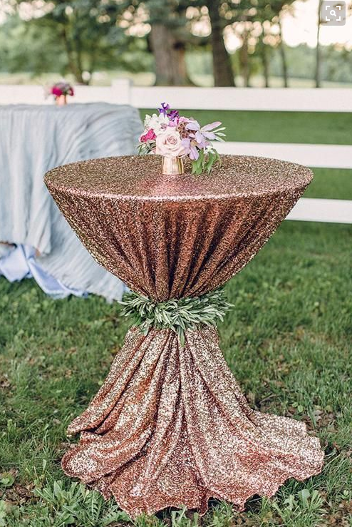 Blush Sequin Cocktail Table And Greenery Tie Table Linen And