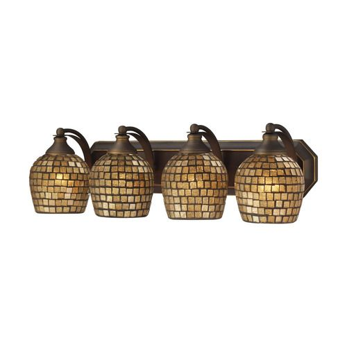 570-4B-GLD | Bath And Spa 4 Light Vanity In Aged Bronze And Gold Leaf Glass - 570-4B-GLD