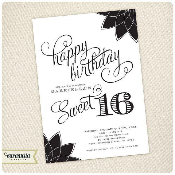 Sweet Six Birthday Invitation Black White Printable By