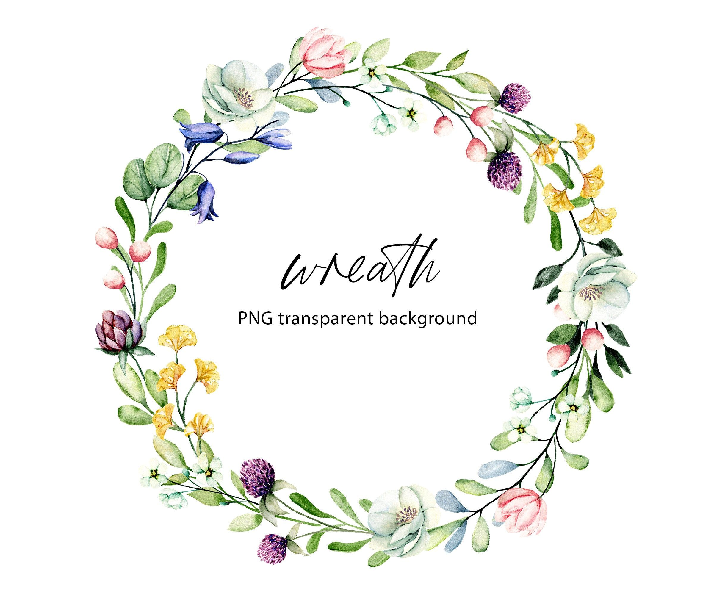 Wreath Watercolor Flowers Clipart Frame With Bouquets Wildflowers Watercolor Painting Png Tran Watercolor Flowers Wreath Watercolor Watercolor Flower Wreath