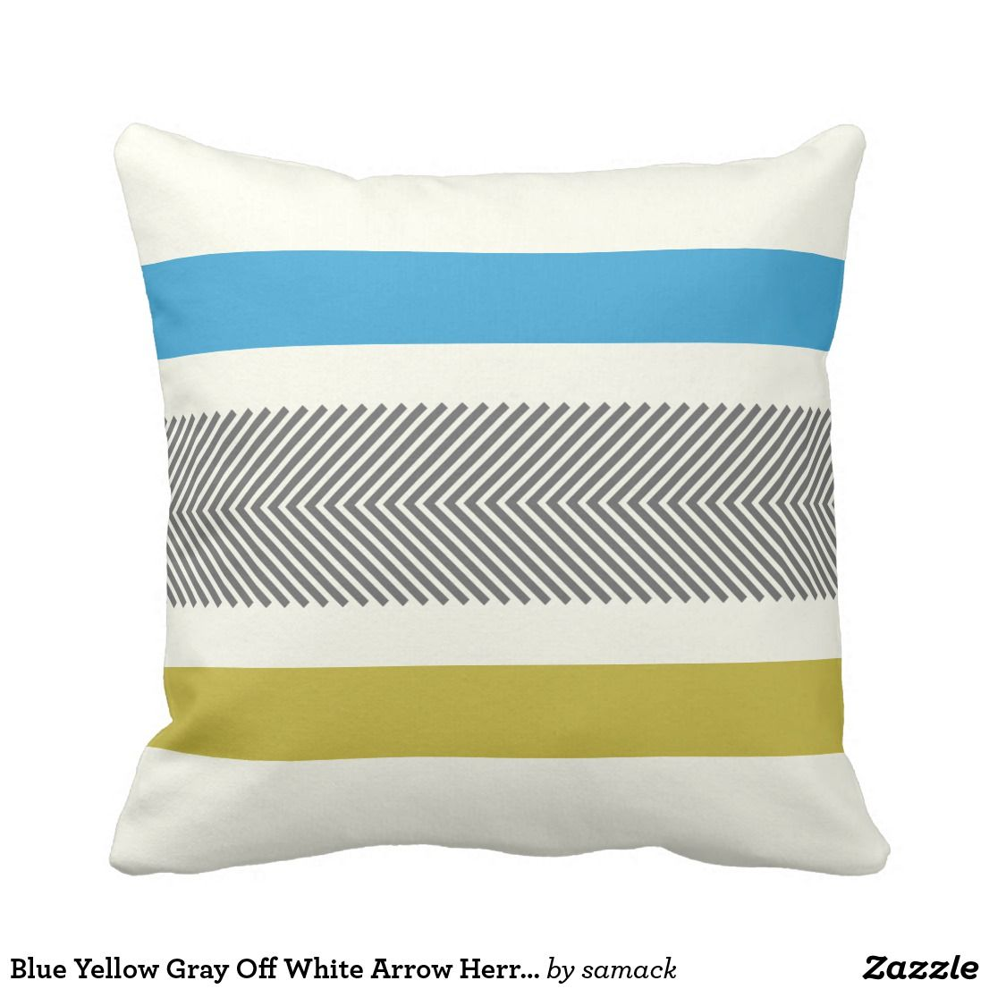 Super Blue Yellow Gray Off White Arrow Herringbone Throw Pillow Theyellowbook Wood Chair Design Ideas Theyellowbookinfo
