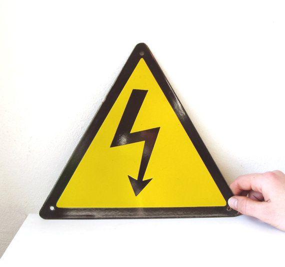 Enamel Sign Vintage Heavy Metal 9 inches Yellow Danger Sign from USSR Soviet Memorabilia Industrial Arrow Sign