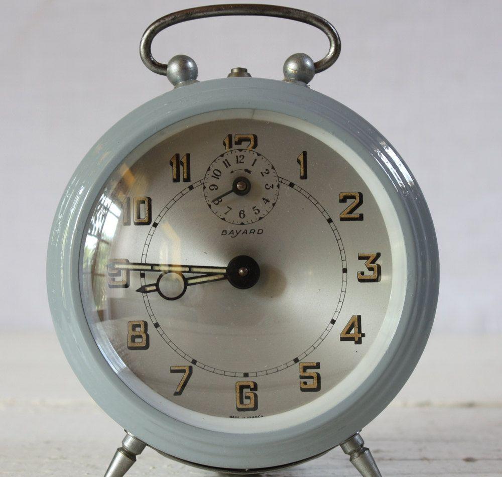 Vintage French Bayard Alarm Clock Grey Blue With Silver Dial