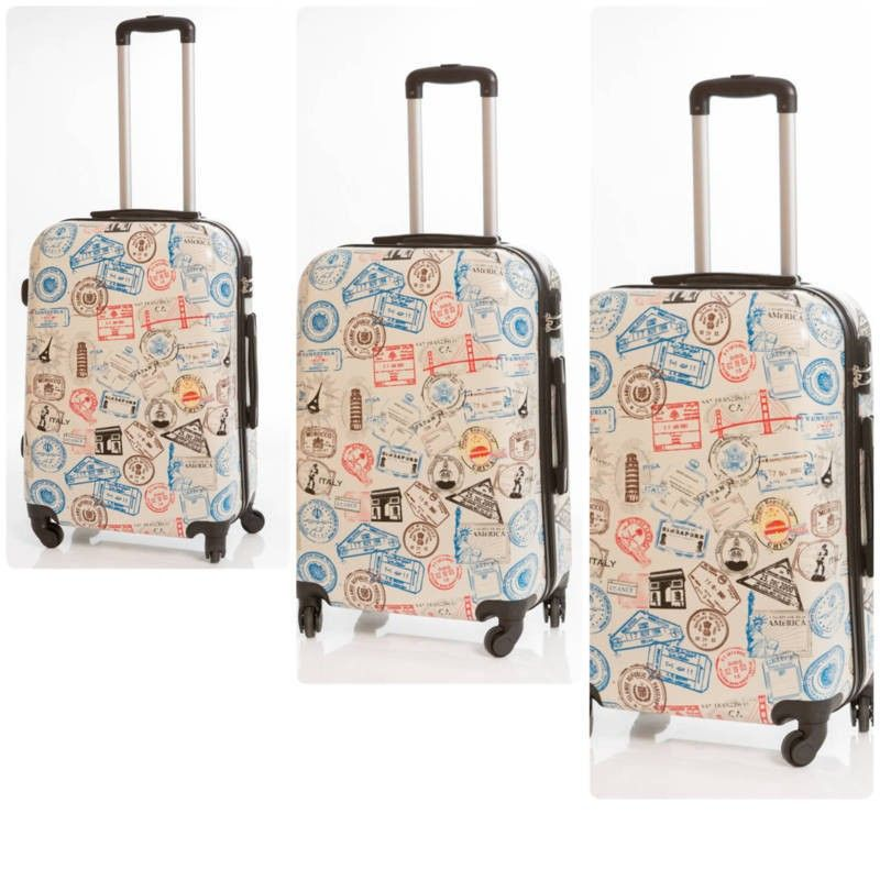 03c2176af juego de 3 Maletas de viaje modelo Pasaporte, son unas maletas duras de 4  ruedas de goma silenciosa, con diseño muy moderno