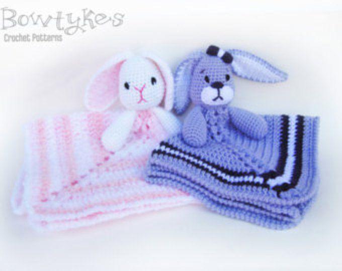 Baby Bunny Lovey CROCHET PATTERN instant download - blankey, blankie ...