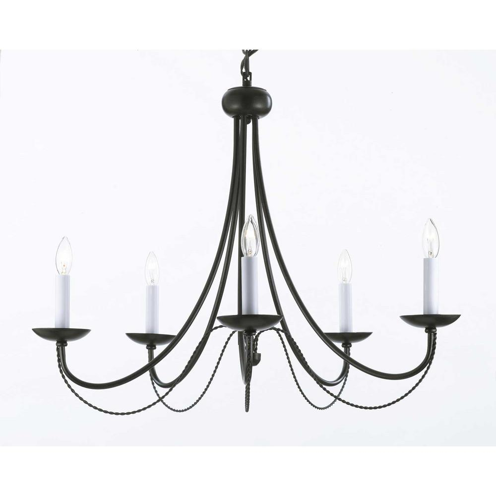 Harrison Lane Versailles 5 Light Black Iron Chandelier Iron Chandeliers Wrought Iron Chandeliers Traditional Chandelier