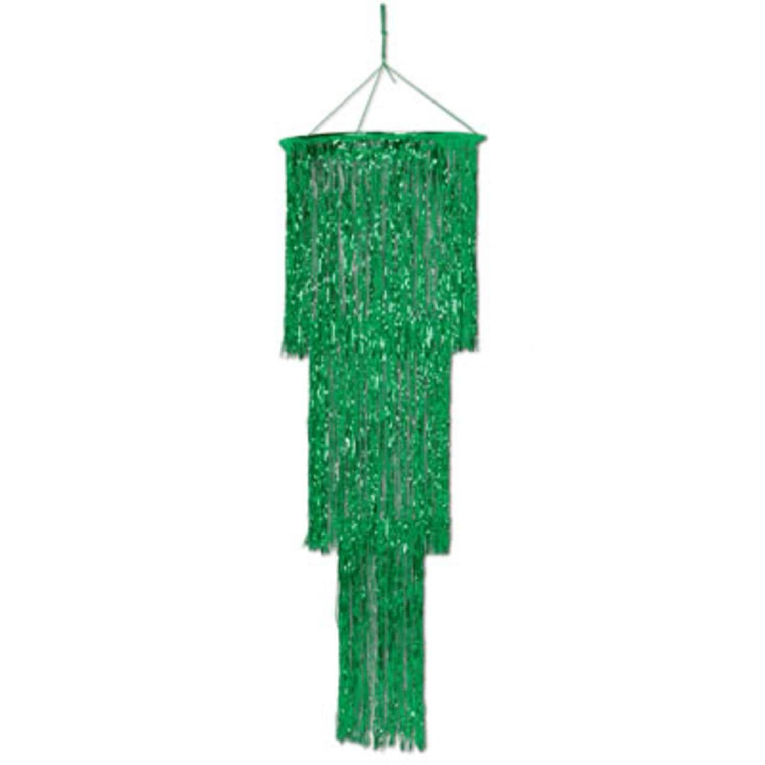 Pack Of 6 Shimmering 3 Tier Metallic Green Chandelier Hanging Party Decorations 4