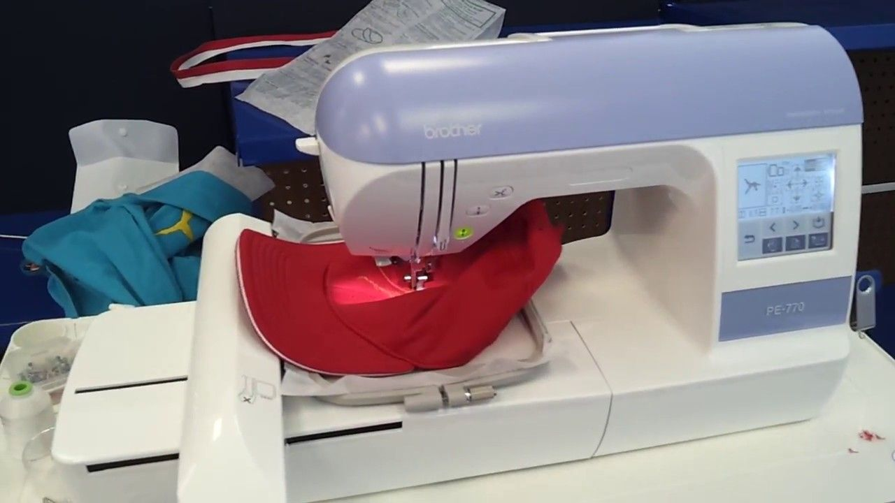 Cap Embroidery With Brother Pe 770 Embroidery Machine Youtube Machine Embroidery Screen Printing Business Cap Embroidery