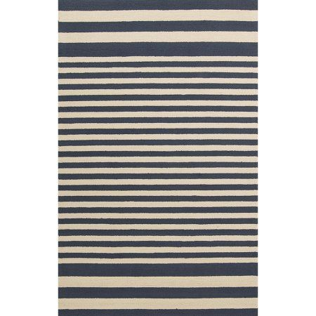 Art of Knot Yunkai Hand Hooked Cape Cod Sailing Stripe Indoor/Outdoor Accent Rug, Red, Blue