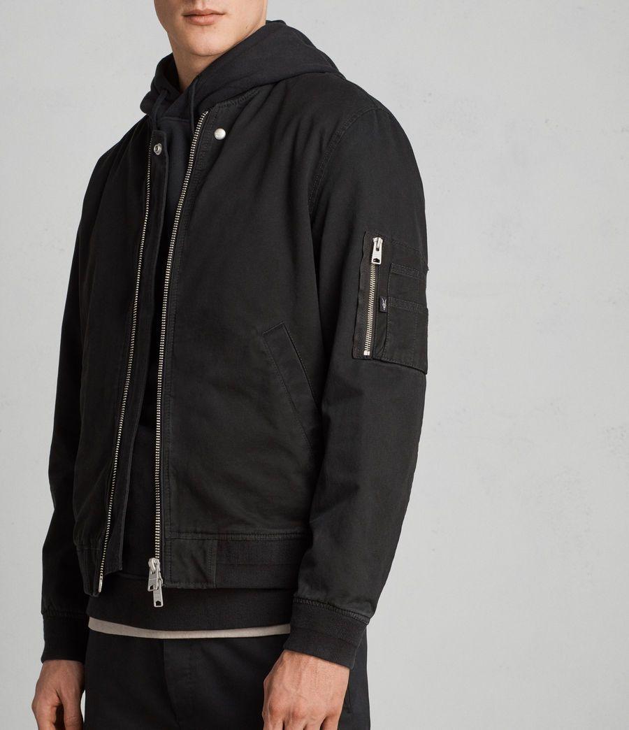 Allsaints Mens Satta Bomber Jacket In Jet Black 228 00 Stylish Mens Coats Bomber Jacket Men Men S Coats And Jackets [ 1044 x 900 Pixel ]