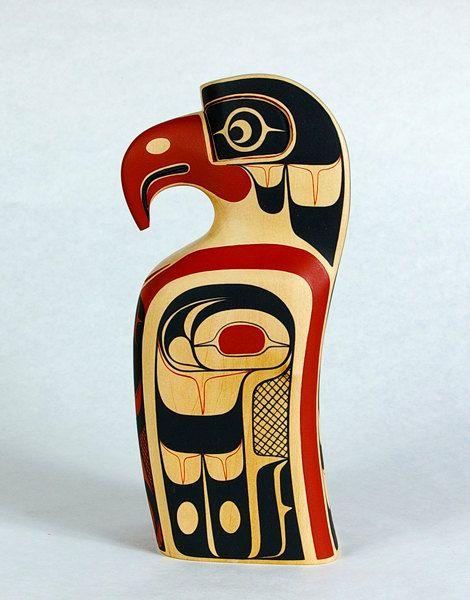 Miniature Eagle Totem Pole Northwest Coast Native Sculpture
