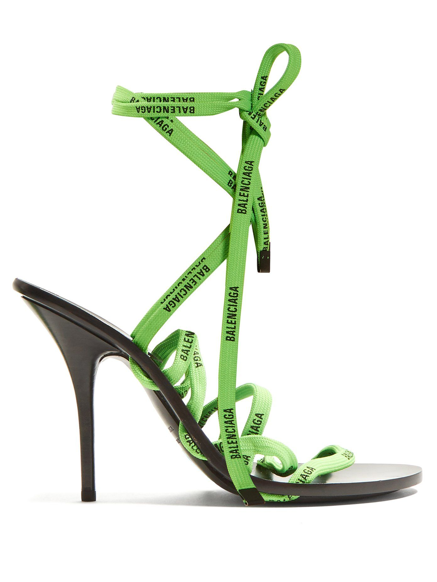 8f8bd9d249 Logo-laced wrap-around high-heeled sandals | Balenciaga | Shoes with ...