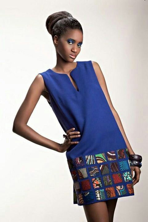 Blue short dress with lower half patchwork. #patchwork #dress