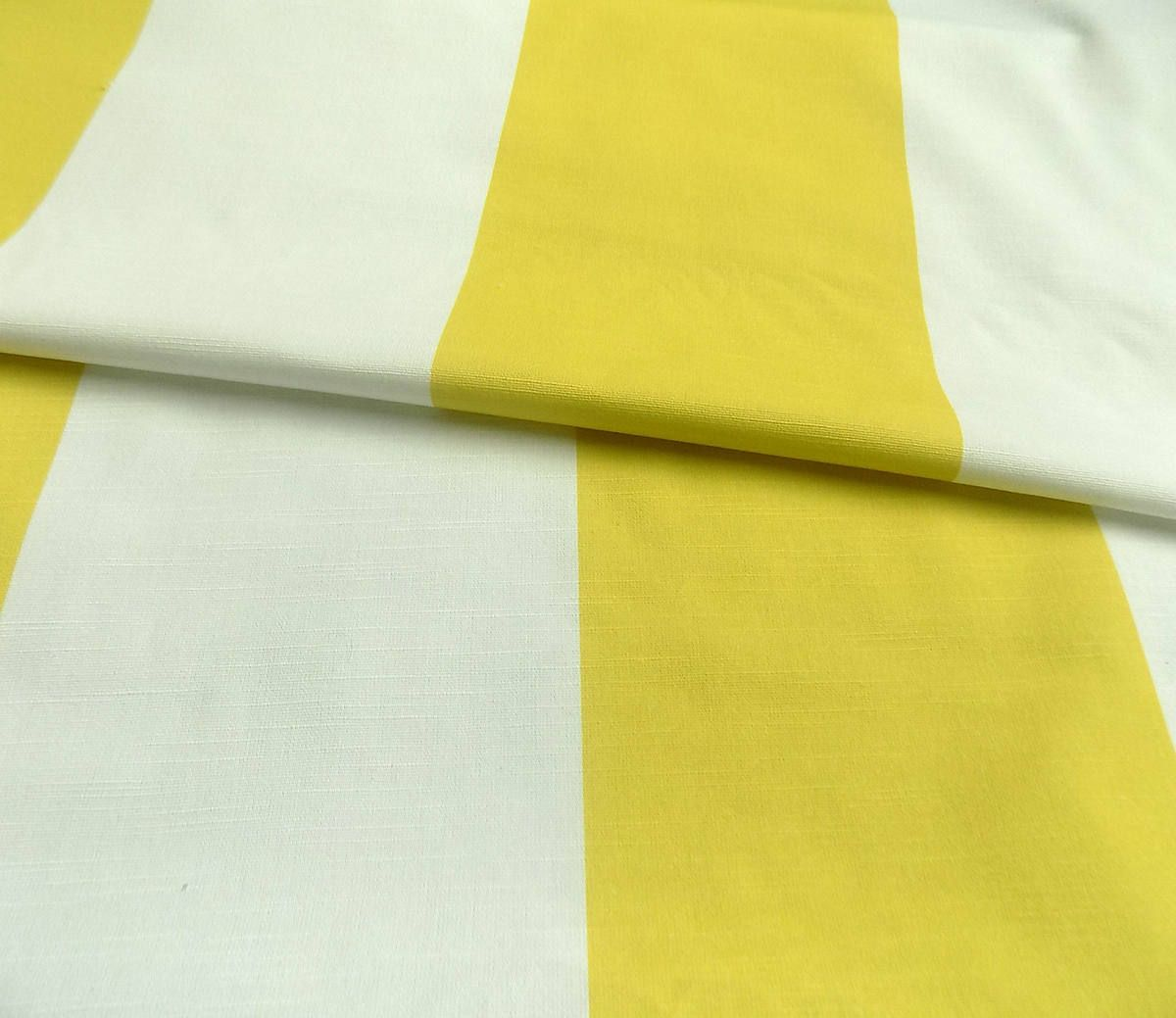 White&Yellow Extra wide Stripes 100% Cotton Fabric Curtain fabric ...