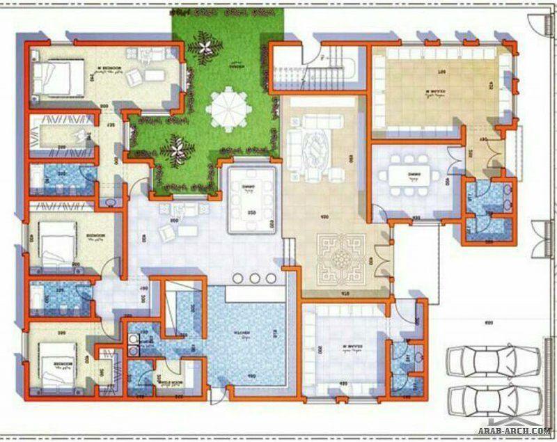 مخطط فيلا ارضية 3 غرف نوم 1 ماستر بحديقة داخلية Square House Plans Model House Plan New House Plans