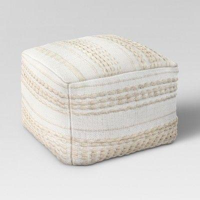 Marvelous Lory Pouf Neutral Textured Opalhouse Square Pouf Pouf Gmtry Best Dining Table And Chair Ideas Images Gmtryco