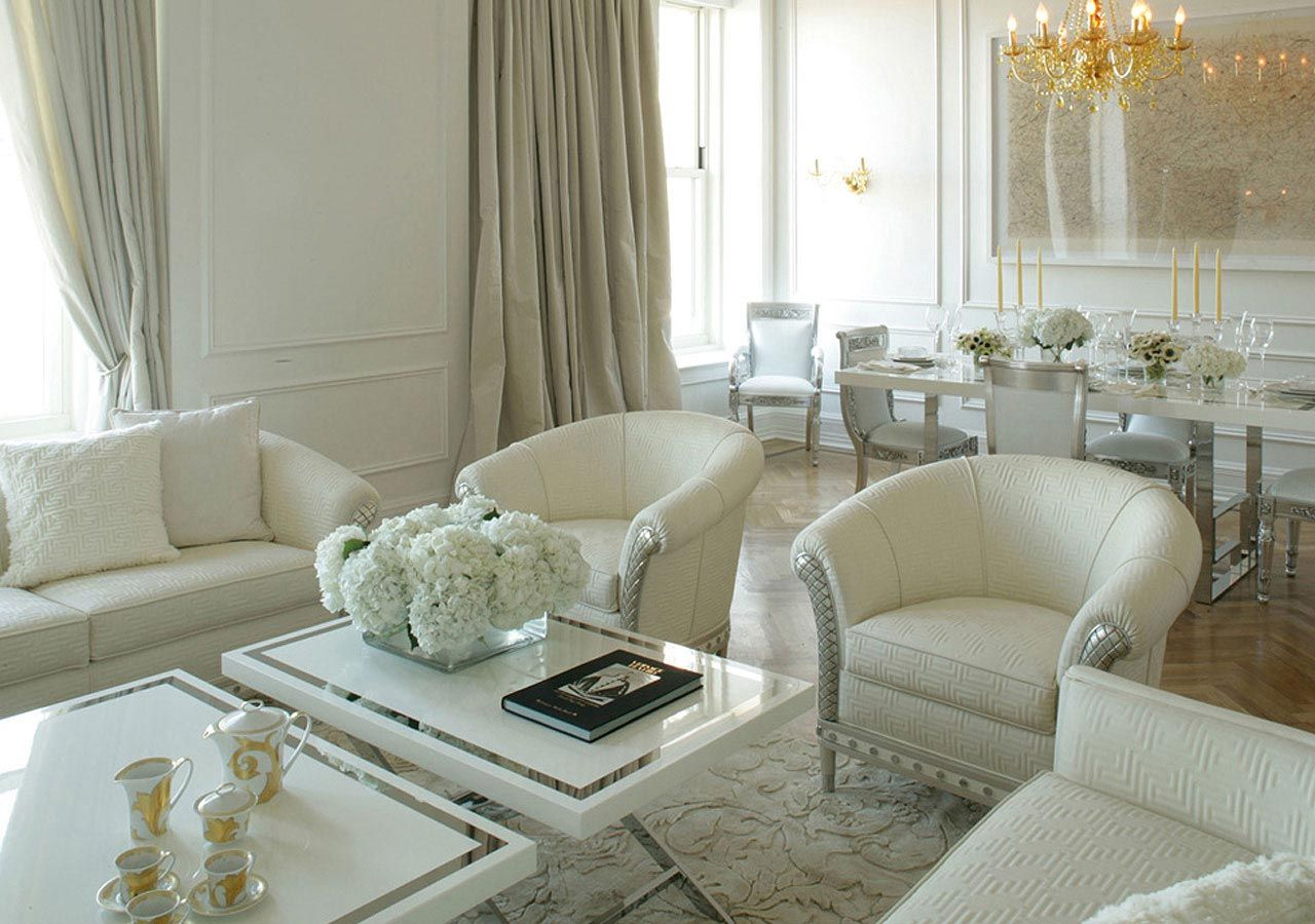 luxurious living room decor with marble floor and white walls ...