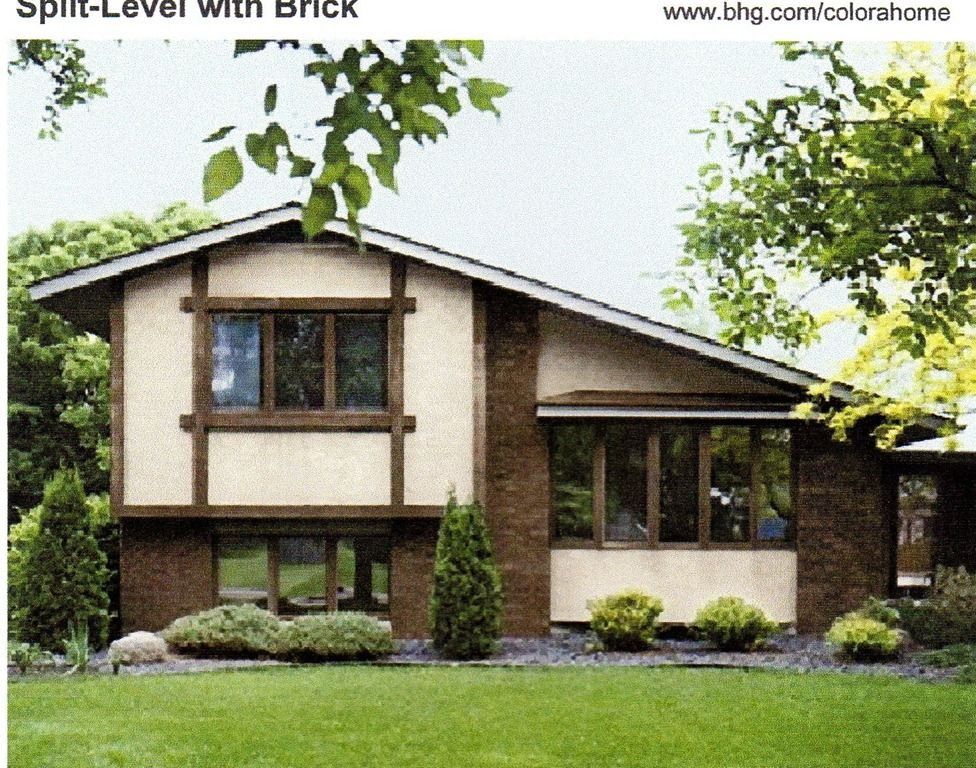 Exterior paint dark brown natural colors number 4 has a brown roof pink beige body and dark - Exterior home paint ...