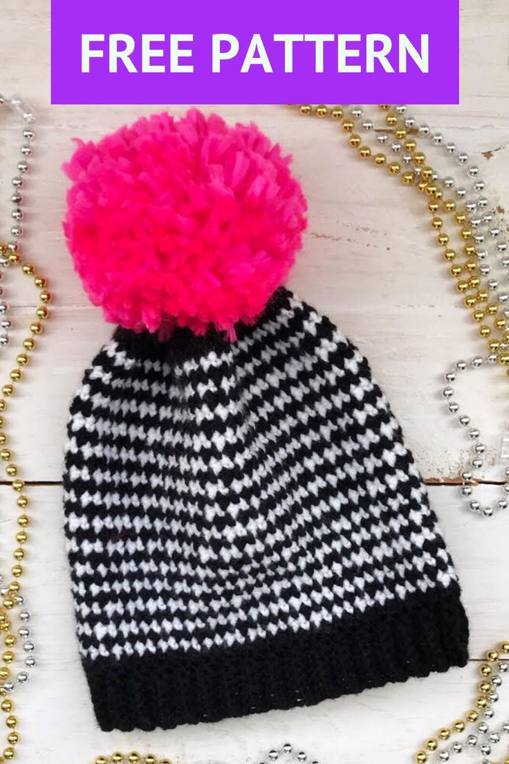 Free Houndstooth Beanie Crochet Pattern | Crochet patterns ...