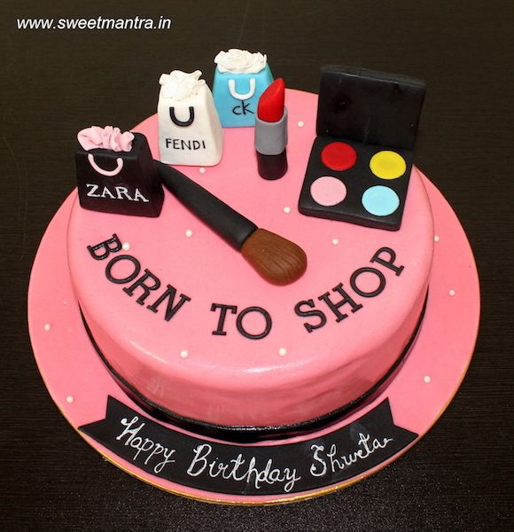 Shopping And Makeup Theme Designer Fondant Cake For Wifes Birthday