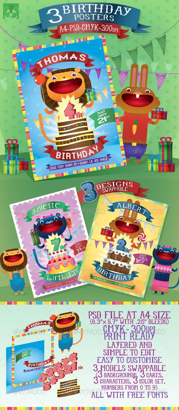 3 Birthday Posters | Birthdays, Print templates and Fonts