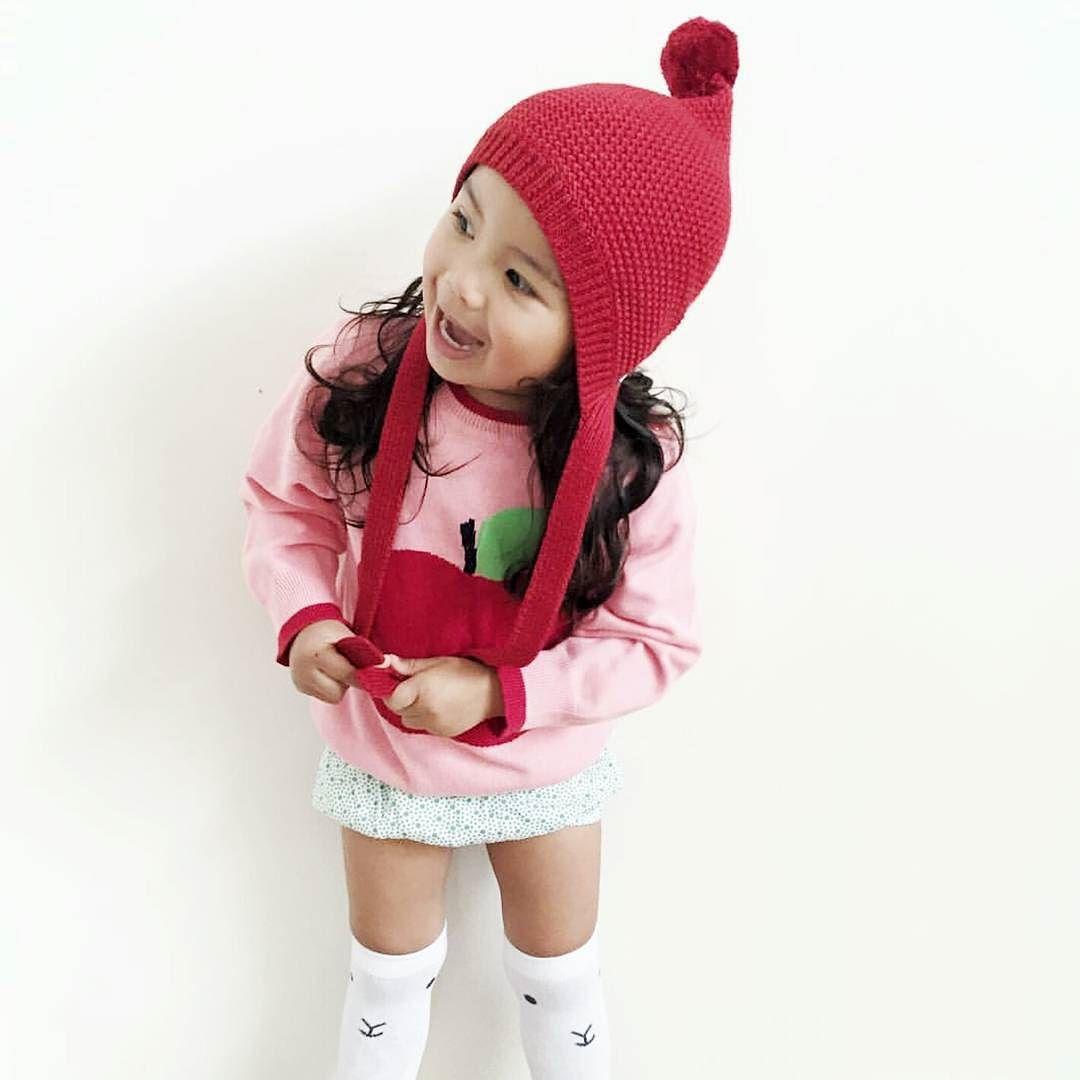 ...and that's how you rock a pop of red   @teapillay #acornkids #kidshats #kidsbeanies #hats #beanies #handknitted #handmade #merinowool #fairtrade #fairtradefashion #ethical #cute #cutekids #winterfashion #winterstyle #accessories #winterbeanies #kidsfashion #coolkids #elfinbeanie #purewool #coolkids #pixiebeanie