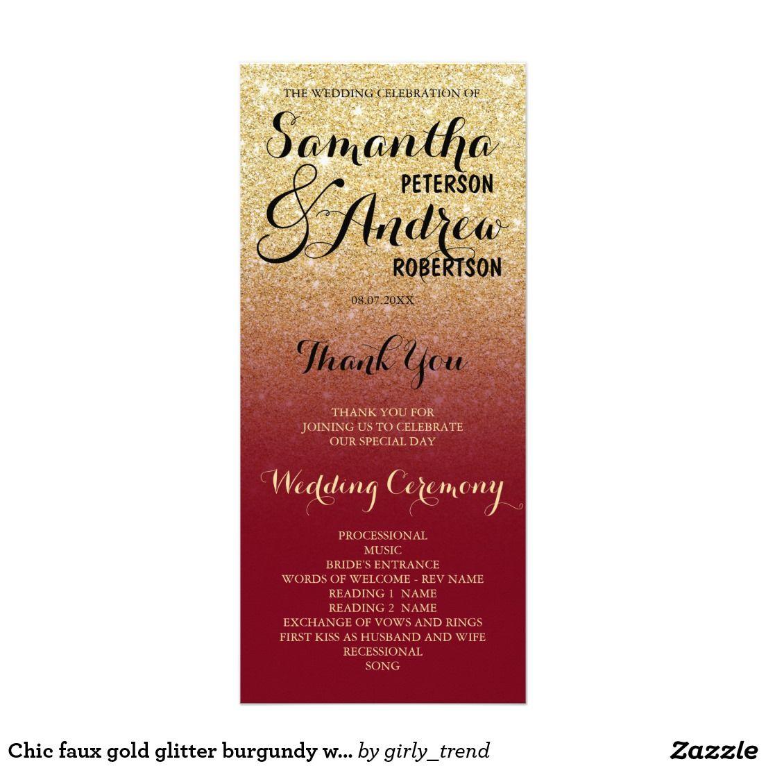Chic faux gold glitter burgundy wedding program   Gold, Burgundy ...