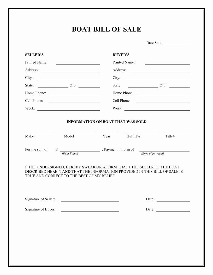 Generic Bill Of Sale Form Printable Inspirational Free Boat Bill Of Sale Form Download Pdf Bill Of Sale Template Contract Template Receipt Template