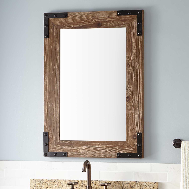 Bonner reclaimed wood vanity mirror pine